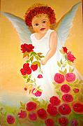 Xafira Mendonsa Prints - Angel surrounded by red roses Print by Xafira Mendonsa