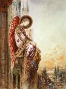Watercolor Tapestries Textiles - Angel Traveller by Gustave Moreau