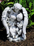 Yard Decorations Posters - Angel Watching Over The Children Poster by Annie Zeno