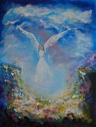 Religious Artwork Painting Originals - Angel Whisperings by Leslie Allen