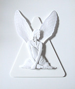 Fantasy Reliefs Prints - Angel Wings Print by John Hebb