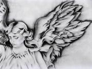 Angel Drawings - Angel Wings by Monica Magallon