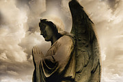 Guardian Angels Posters - Angel Wings Praying - Spiritual Angel Art Poster by Kathy Fornal