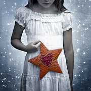 White Dress Posters - Angel With A Star Poster by Joana Kruse