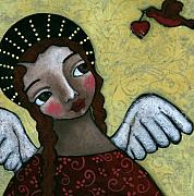 Religious Art Painting Posters - Angel with Bird of Peace Poster by Julie-ann Bowden