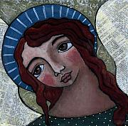 Angel With Blue Halo Print by Julie-ann Bowden