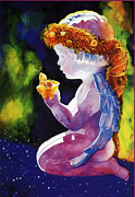 Puerto Rico Painting Posters - Angel with Butterflies Poster by Estela Robles
