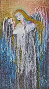 Great Pastels - Angel With Golden Hair by Alicja Coe