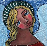 Religious Art Painting Framed Prints - Angel with Green Halo Framed Print by Julie-ann Bowden