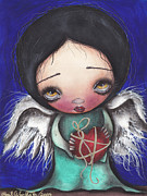 Sacred Heart Paintings - Angel with Heart by  Abril Andrade Griffith