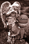 Guardian Angel Photo Posters - Angel With Inspirational Words Believe Poster by Kathy Fornal