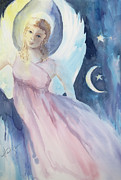 Stars And Moon Prints - Angel with Moon and Stars Print by Mary DuCharme