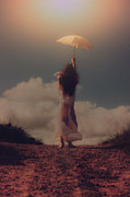 Mysterious Sunset Metal Prints - Angel With Parasol Metal Print by Joana Kruse