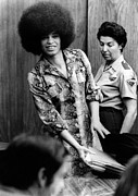 Trial Framed Prints - Angela Davis In Courtroom. She Framed Print by Everett