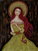 Christian Art . Devotional Art Painting Metal Prints - Angela Metal Print by Rain Ririn