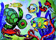 Angelfish Paintings - Angelfish Reef by Deborah Willard