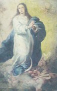 New England Snow Scene Paintings - Angelic Mary  by Unique Consignment