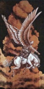 Cowboy Pyrography Originals - Angelic Saddle Bronc by Jerrywayne Anderson