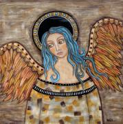 Angel Art Pastels Framed Prints - Angelica Framed Print by Rain Ririn