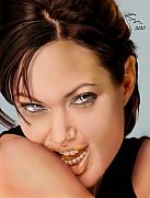 Jolie Framed Prints - Angelina Jolie - cold seduction  Framed Print by Reggie Duffie