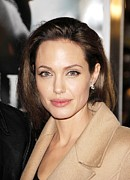 Diamond Earrings Framed Prints - Angelina Jolie At Arrivals For Los Framed Print by Everett