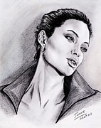 Pencils Framed Prints - Angelina Jolie Framed Print by Joane Severin