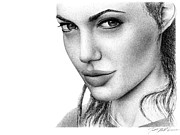 Tomb Drawings - Angelina Jolie by Matthew Riedl