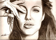 Photorealism Mixed Media Prints - Angelina Jolie Print by Michael Mestas