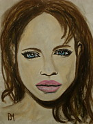 Movie Star Pastels Prints - Angelina Jolie Print by Pete Maier