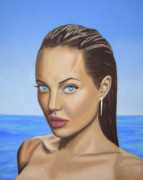 Classical Style Framed Prints - Angelina Jolie Portrait Painting   Framed Print by Luigi Carlo