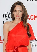 Red Dress Framed Prints - Angelina Jolie Wearing A Jenny Packham Framed Print by Everett