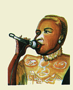 Beatles Drawings - Angelique Kidjo by Emmanuel Baliyanga