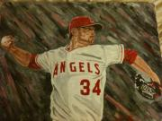 Pitch Painting Posters - Angels 34 First Pitch Poster by Daryl Williams Jr