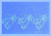 Angels Drawings - Angels Christmas Card by Ann Powell