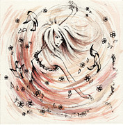 Dancing Girl Drawings Prints - Angels Dance Print by Rachel Christine Nowicki