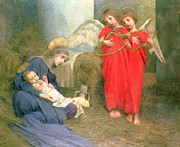 Card Of The Holiday Framed Prints - Angels Entertaining the Holy Child Framed Print by Marianne Stokes
