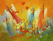 Woman In Summer Meadow Posters - Angels In Love Poster by Krzysztof Lozowski