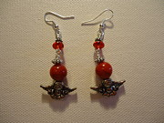 Red Jewelry Prints - Angels in Red Earrings Print by Jenna Green