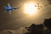 Airshows Photos - Angels In The Sky . Partial Sepia by Wingsdomain Art and Photography