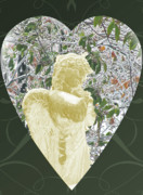 Gold Angel Card Posters - Angels Of The Snow  C Poster by Debra     Vatalaro