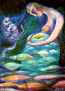 Night Angel Paintings - Angels Of Zodiac Pisces The Fishes by Elisheva Nesis