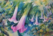 Trumpets Paintings - Angels Trumpets I by Marilyn Young