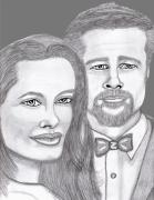 Celebrities Pastels Acrylic Prints - Angie and Brad Acrylic Print by Richard Heyman