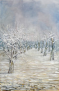Winterscape Painting Originals - Angies Pear Orchard by Robert James Hacunda