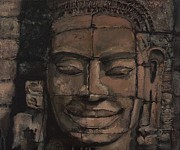 Statue Portrait Mixed Media Prints - Angkor Smile - Angkor Wat Painting Print by Khairzul MG