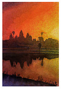 Travel Destination Painting Originals - Angkor sunrise by Ryan Fox