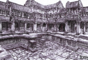 Wooden Building Drawings Posters - Angkor Wat - Hindu and Buddhist Temple In Indonesia  Poster by Benjamin Blankenbehler