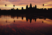Siem Reap Posters - Angkor Wat Temple At Twilight Poster by Steve Raymer