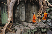 Religions Prints - Angkor Wat Temple With Monks, Siem Print by Steve Raymer