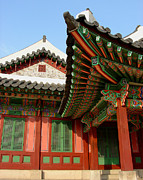 Hand-built Prints - Angle on the Eaves_Changdeokgung Palace_Seoul_South Korea Print by Jon William Lopez
